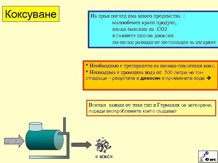 Коксуване На пръв поглед има много предимства : малообемен краен продукт, ниски емисиии на