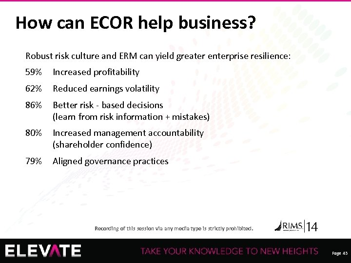 How can ECOR help business? Robust risk culture and ERM can yield greater enterprise