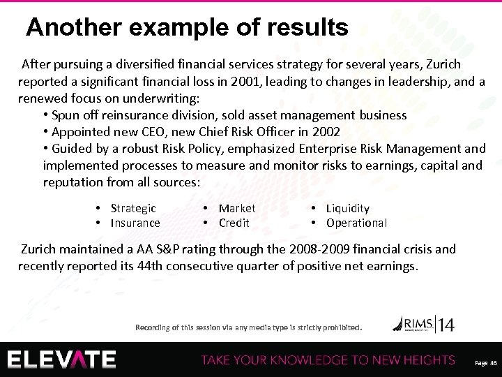 Another example of results After pursuing a diversified financial services strategy for several years,