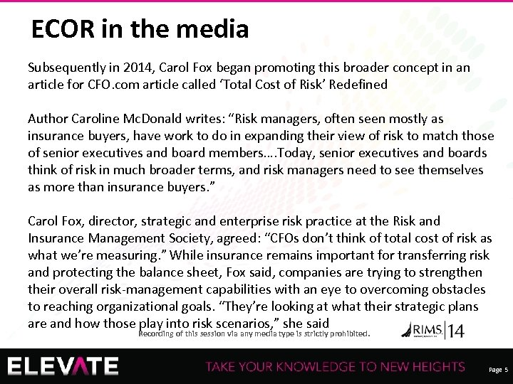 ECOR in the media Subsequently in 2014, Carol Fox began promoting this broader concept