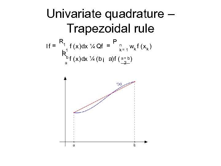 Univariate quadrature – Trapezoidal rule If = R 1 ¡ 1 Rb a f