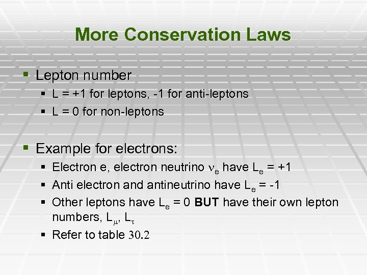 More Conservation Laws § Lepton number § L = +1 for leptons, -1 for