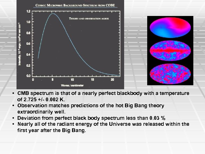 • CMB spectrum is that of a nearly perfect blackbody with a temperature