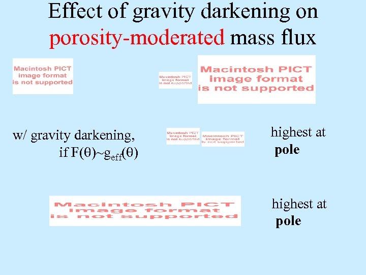 Effect of gravity darkening on porosity-moderated mass flux w/ gravity darkening, if F(q)~geff(q) highest
