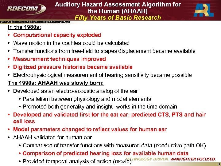 Auditory Hazard Assessment Algorithm for the Human (AHAAH) Fifty Years of Basic Research Human