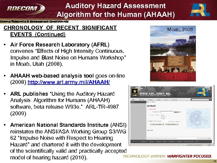 Auditory Hazard Assessment Algorithm for the Human (AHAAH) Human Research & Engineering Directorate CHRONOLOGY