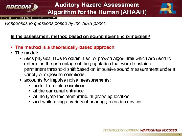 Auditory Hazard Assessment Algorithm for the Human (AHAAH) Human Research & Engineering Directorate Responses