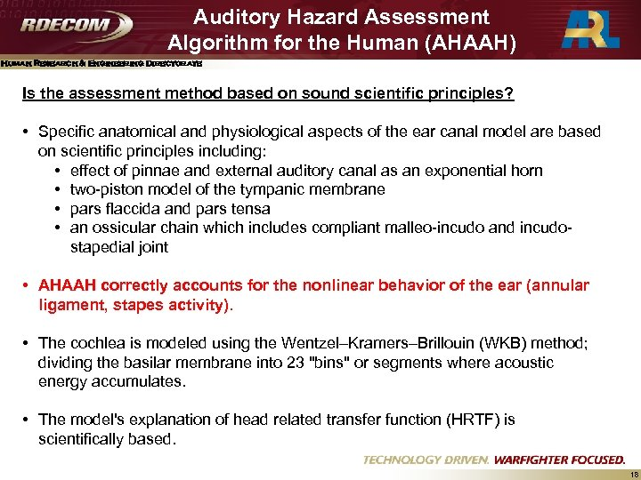 Auditory Hazard Assessment Algorithm for the Human (AHAAH) Human Research & Engineering Directorate Is