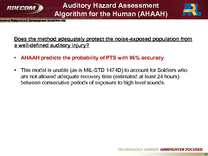 Auditory Hazard Assessment Algorithm for the Human (AHAAH) Human Research & Engineering Directorate Does