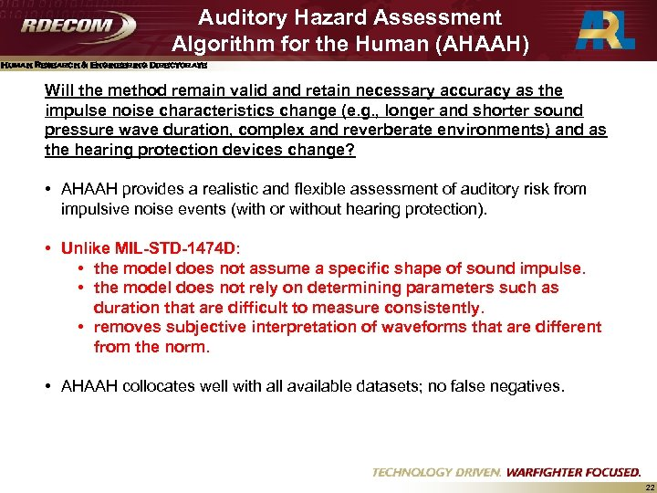Auditory Hazard Assessment Algorithm for the Human (AHAAH) Human Research & Engineering Directorate Will