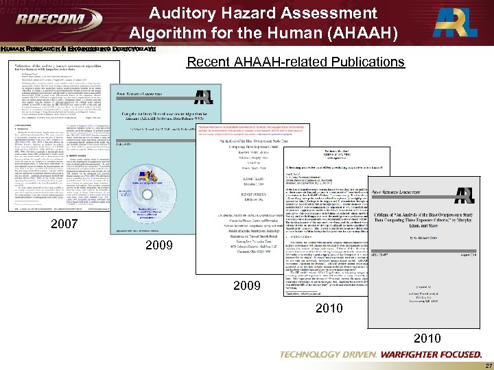Auditory Hazard Assessment Algorithm for the Human (AHAAH) Human Research & Engineering Directorate Recent