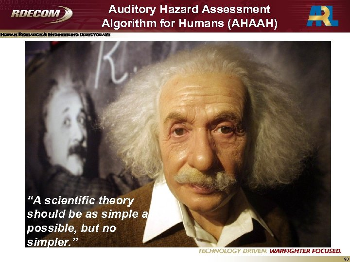 """Auditory Hazard Assessment Algorithm for Humans (AHAAH) Human Research & Engineering Directorate """"A scientific"""