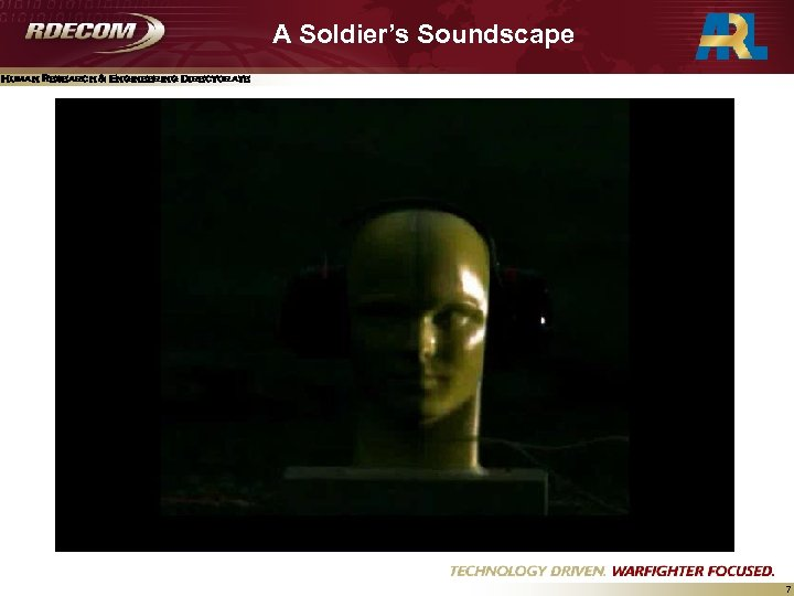 A Soldier's Soundscape Human Research & Engineering Directorate 7