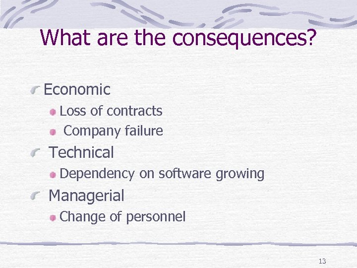 What are the consequences? Economic Loss of contracts Company failure Technical Dependency on software