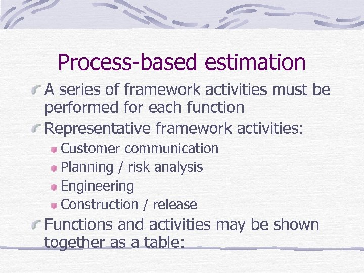 Process-based estimation A series of framework activities must be performed for each function Representative