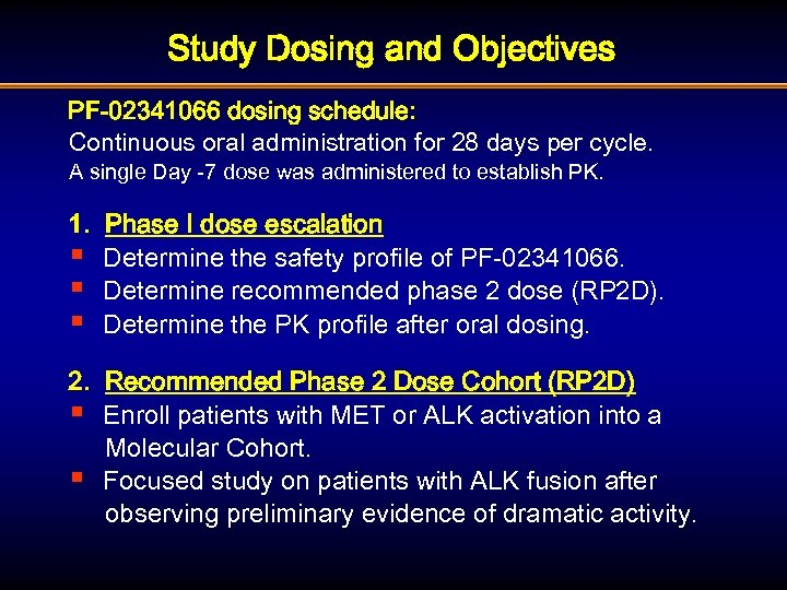 Study Dosing and Objectives PF-02341066 dosing schedule: Continuous oral administration for 28 days per