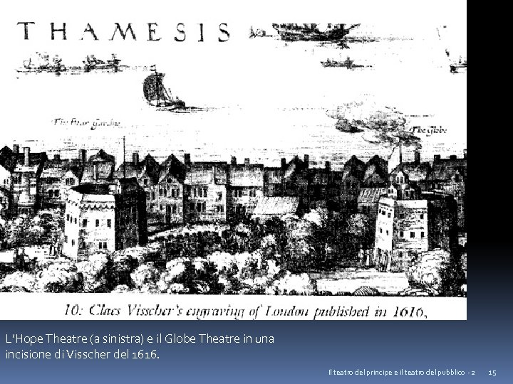 L'Hope Theatre (a sinistra) e il Globe Theatre in una incisione di Visscher del