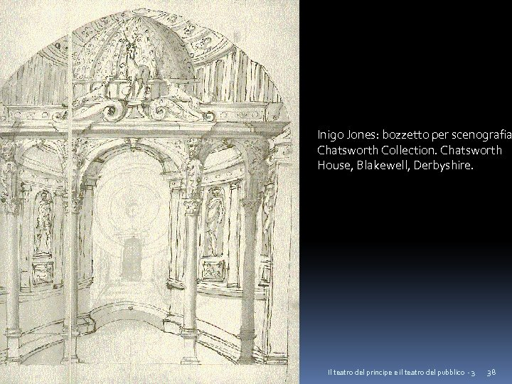 Inigo Jones: bozzetto per scenografia Chatsworth Collection. Chatsworth House, Blakewell, Derbyshire. Il teatro del