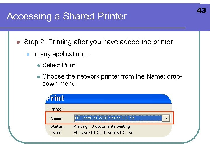 Accessing a Shared Printer l Step 2: Printing after you have added the printer