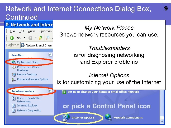 Network and Internet Connections Dialog Box, Continued My Network Places Shows network resources you