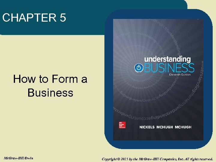 CHAPTER 5 How to Form a Business Mc. Graw-Hill/Irwin Copyright © 2015 by the
