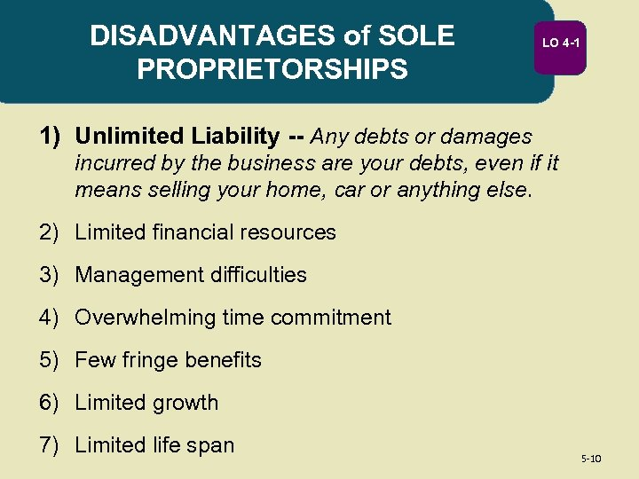 DISADVANTAGES of SOLE PROPRIETORSHIPS LO 4 -1 1) Unlimited Liability -- Any debts or