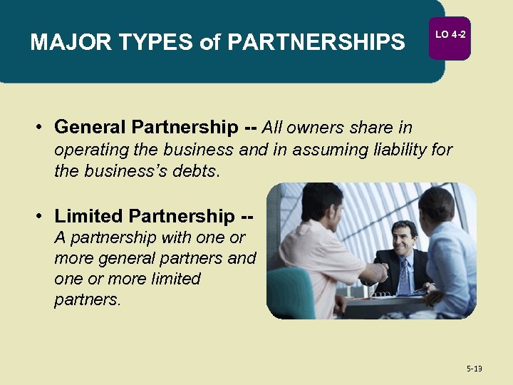MAJOR TYPES of PARTNERSHIPS LO 4 -2 • General Partnership -- All owners share