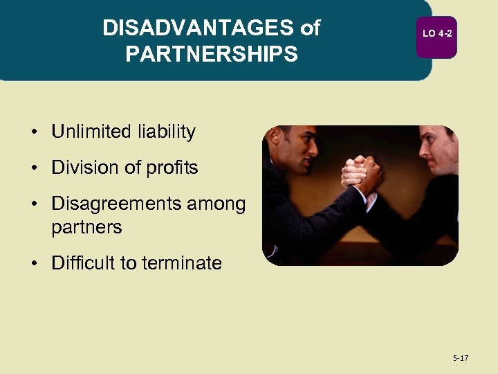 DISADVANTAGES of PARTNERSHIPS LO 4 -2 • Unlimited liability • Division of profits •