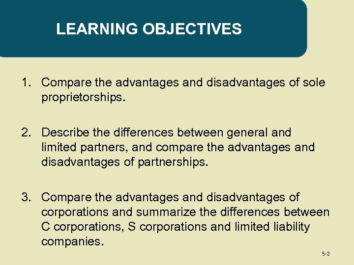 LEARNING OBJECTIVES 1. Compare the advantages and disadvantages of sole proprietorships. 2. Describe the