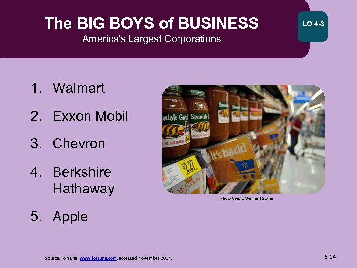 The BIG BOYS of BUSINESS LO 4 -3 America's Largest Corporations 1. Walmart 2.
