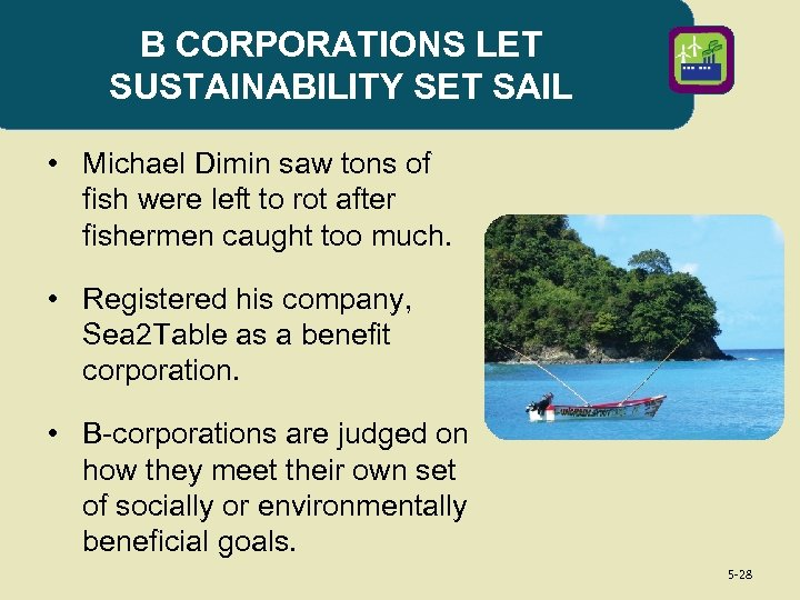 B CORPORATIONS LET SUSTAINABILITY SET SAIL • Michael Dimin saw tons of fish were