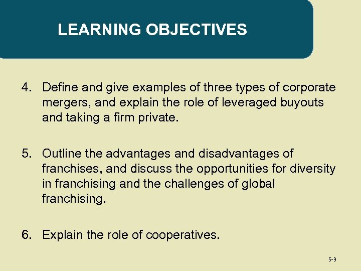 LEARNING OBJECTIVES 4. Define and give examples of three types of corporate mergers, and
