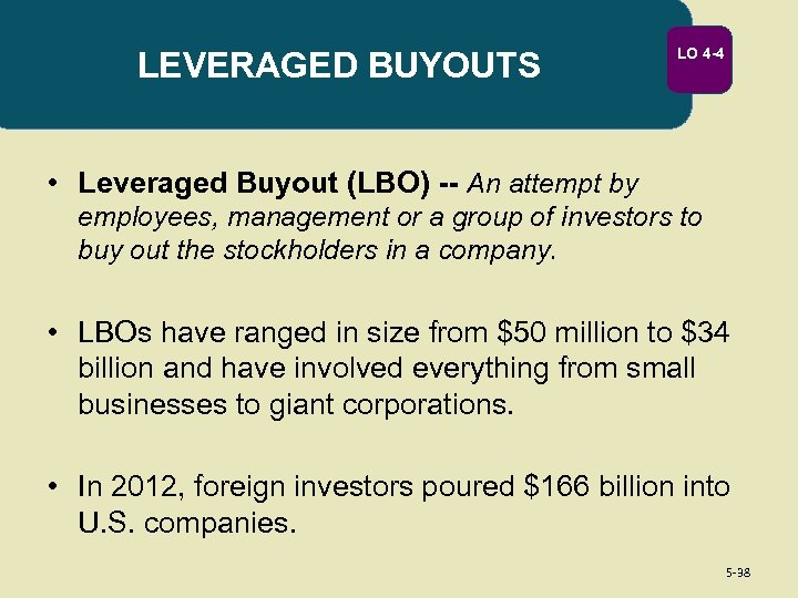 LEVERAGED BUYOUTS LO 4 -4 • Leveraged Buyout (LBO) -- An attempt by employees,