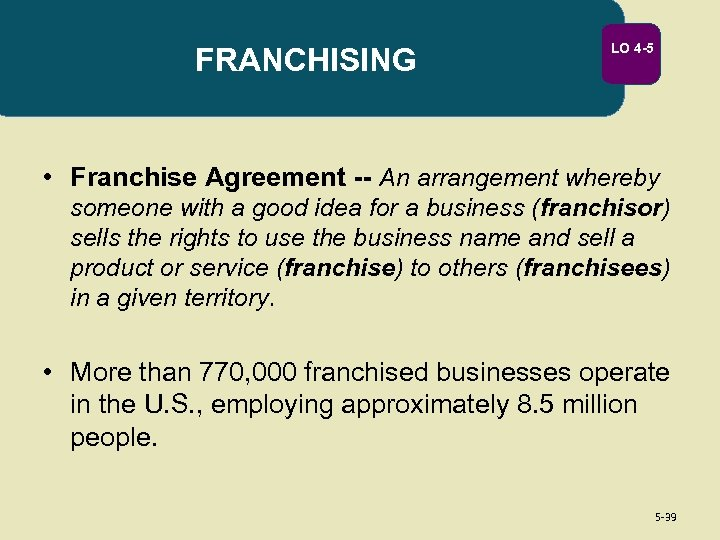 FRANCHISING LO 4 -5 • Franchise Agreement -- An arrangement whereby someone with a