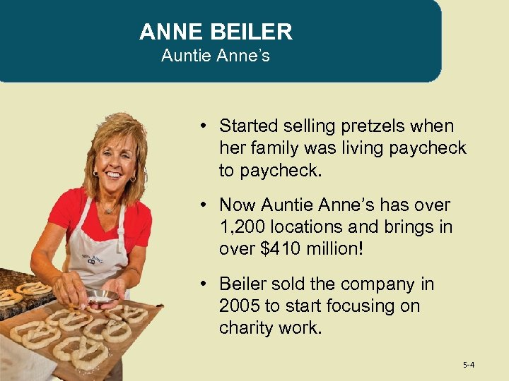 ANNE BEILER Auntie Anne's • Started selling pretzels when her family was living paycheck