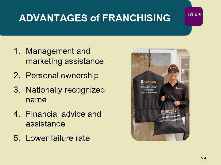 ADVANTAGES of FRANCHISING LO 4 -5 1. Management and marketing assistance 2. Personal ownership