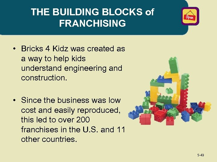 THE BUILDING BLOCKS of FRANCHISING • Bricks 4 Kidz was created as a way