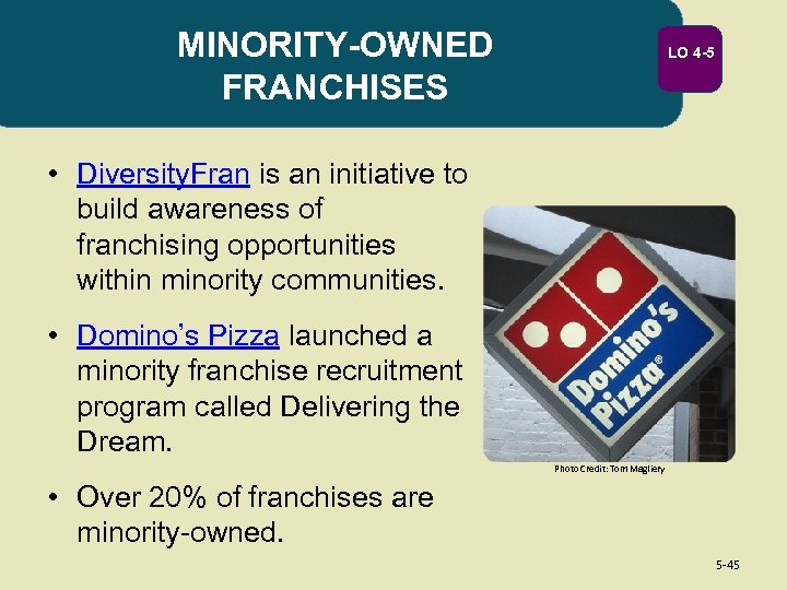 MINORITY-OWNED FRANCHISES LO 4 -5 • Diversity. Fran is an initiative to build awareness