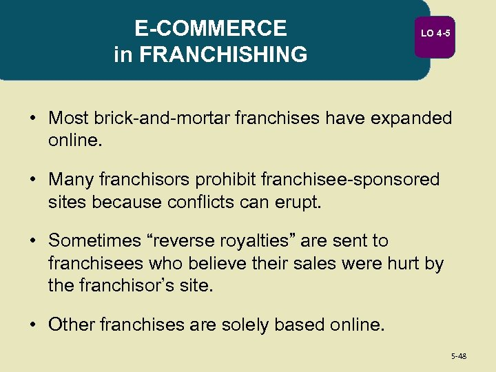 E-COMMERCE in FRANCHISHING LO 4 -5 • Most brick-and-mortar franchises have expanded online. •