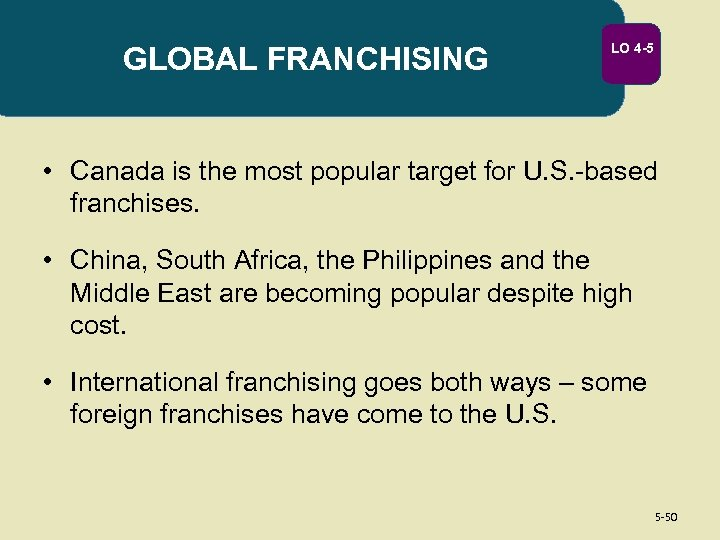 GLOBAL FRANCHISING LO 4 -5 • Canada is the most popular target for U.