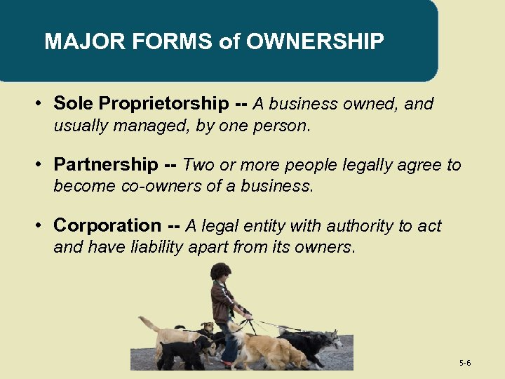 MAJOR FORMS of OWNERSHIP • Sole Proprietorship -- A business owned, and usually managed,