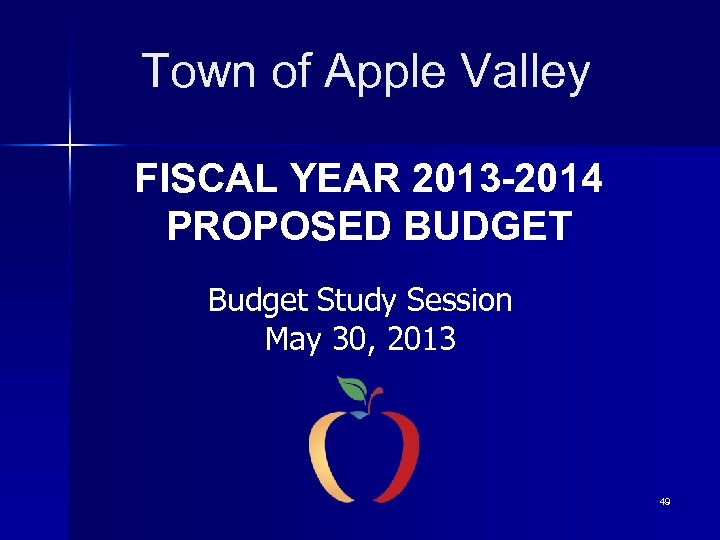 Town of Apple Valley FISCAL YEAR 2013 -2014 PROPOSED BUDGET Budget Study Session May