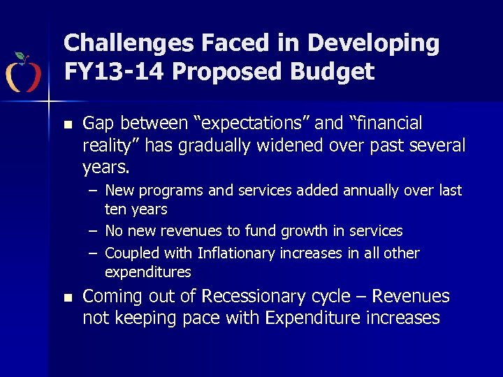 "Challenges Faced in Developing FY 13 -14 Proposed Budget n Gap between ""expectations"" and"