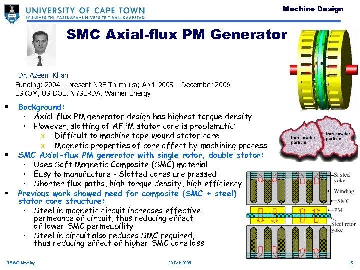 Machine Design SMC Axial-flux PM Generator Dr. Azeem Khan Funding: 2004 – present NRF