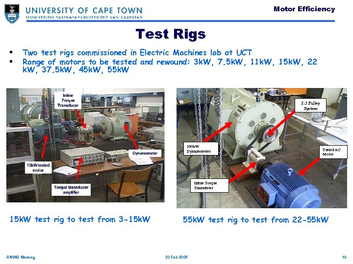 Motor Efficiency Test Rigs § § Two test rigs commissioned in Electric Machines lab