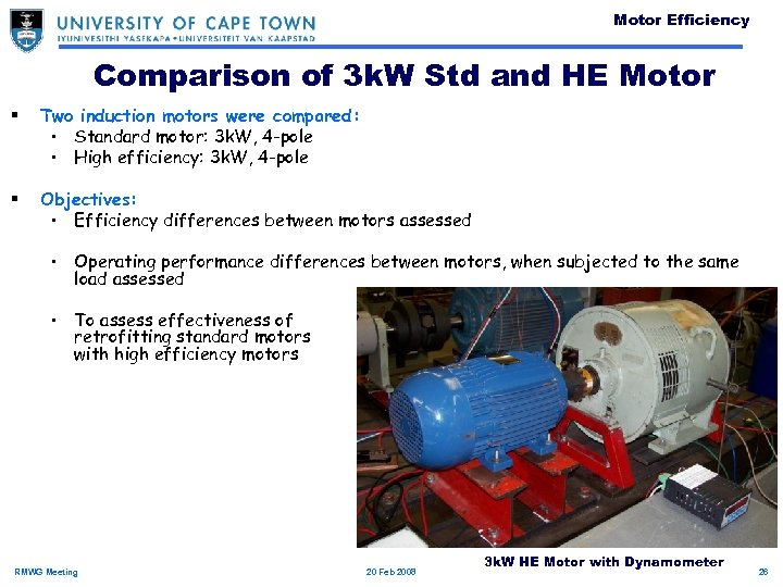 Motor Efficiency Comparison of 3 k. W Std and HE Motor § Two induction
