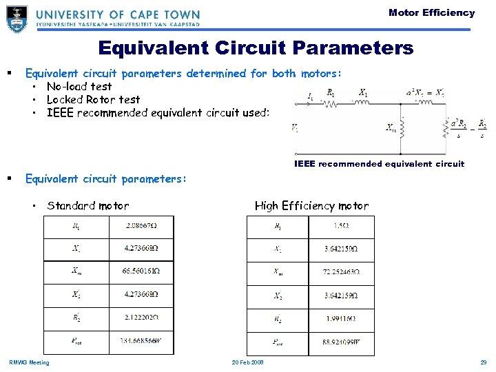 Motor Efficiency Equivalent Circuit Parameters § Equivalent circuit parameters determined for both motors: •