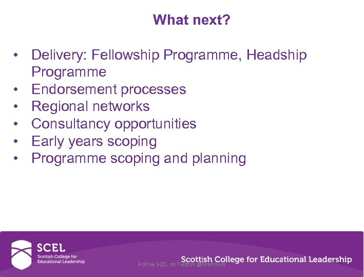 What next? • Delivery: Fellowship Programme, Headship Programme • Endorsement processes • Regional networks