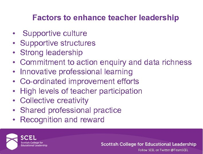Factors to enhance teacher leadership • • • Supportive culture Supportive structures Strong leadership
