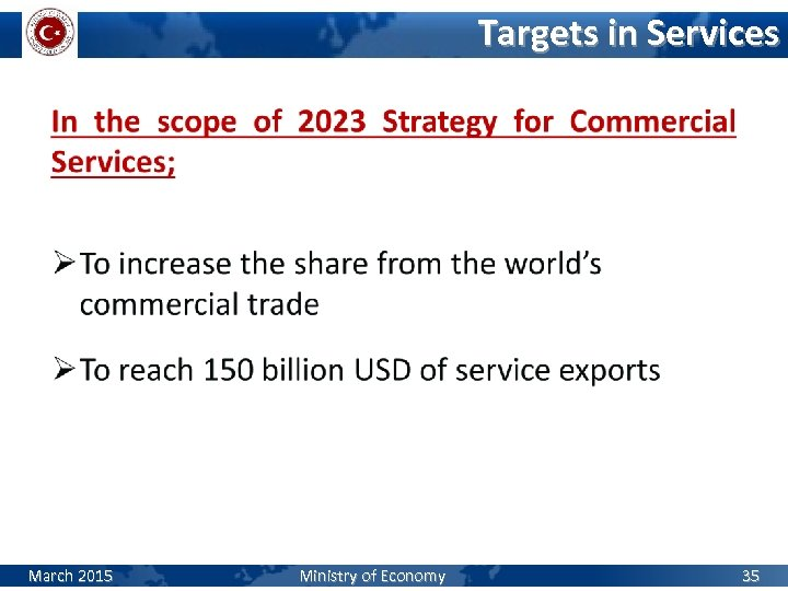 Targets in Services March 2015 Ministry of Economy 35